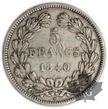 FRANCE-1840W-5 Francs Louis-Philippe  G. 678   cornue TTB+