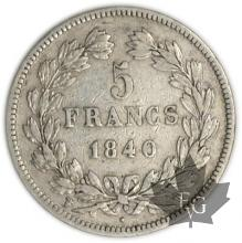 FRANCE-1840W-5 Francs Louis-Philippe  G. 678  TTB+