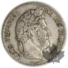 FRANCE-1839W-5 Francs Louis-Philippe  G. 678  TTB+
