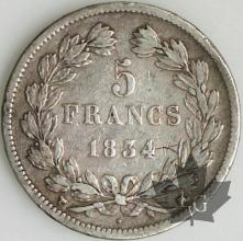 FRANCE-1834MA-5 Francs (2) Louis-Philippe  G. 678  TB+