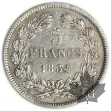 FRANCE-1834T-5 Francs Louis-Philippe  G. 678  TTB+