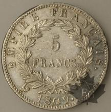 FRANCE-1809A-5 Francs tête laurée EMPIRE TTB+