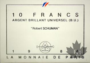 FRANCE-1986-10 FRANCS ARGENT- ROBERT SCHUMAN