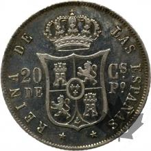 PHILIPPINES-1868-20 CENTIMOS-ISABEL II-SUP