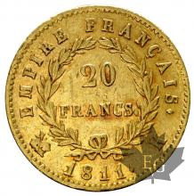 FRANCE-1811K-20 FRANCS-1ER EMPIRE-TTB+