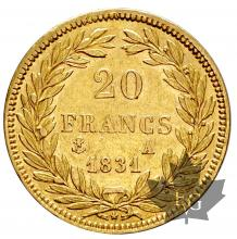 FRANCE-1831A-20 FRANCS-LOUIS PHILIPPE-TTB-SUP