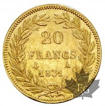 FRANCE-1831A-20 FRANCS-LOUIS PHILIPPE-TTB