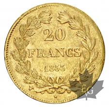 FRANCE-1833W-20 FRANCS-LOUIS PHILIPPE-prTTB