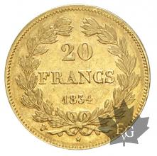 FRANCE-1834W-20 FRANCS-LOUIS PHILIPPE-TTB-SUP