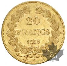 FRANCE-1839A-20 FRANCS-LOUIS PHILIPPE-SUP-FDC