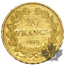 FRANCE-1839W-20 FRANCS-LOUIS PHILIPPE-prSUP