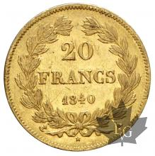 FRANCE-1840A-20 FRANCS-LOUIS PHILIPPE-SUP-FDC