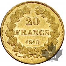 FRANCE-1840A-20 FRANCS-LOUIS PHILIPPE-SUP+