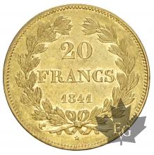 FRANCE-1841A-20 FRANCS-LOUIS PHILIPPE-SUP+