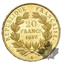 FRANCE-1852A-20 FRANCS-L.N. BONAPARTE-prFDC