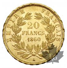 FRANCE-1860A-20 FRANCS-NAPOLEON III-SUP+