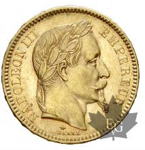 FRANCE-1865A-20 FRANCS-NAPOLEON III-SUP+
