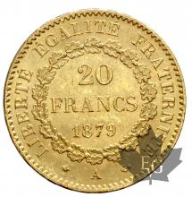 FRANCE-1879A-20 FRANCS-III REPUBLIQUE-SUP-FDC