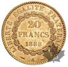 FRANCE-1888-20 FRANCS-III REPUBLIQUE-SUP-FDC