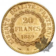 FRANCE-1889-20 FRANCS-III REPUBLIQUE-SUP-FDC