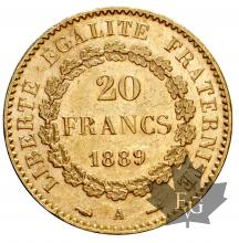 FRANCE-1889-20 FRANCS-III REPUBLIQUE-SUP
