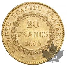 FRANCE-1894-20 FRANCS-III REPUBLIQUE-prFDC