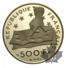 FRANCE-1991-500 FRANCS-DESCARTES-PROOF