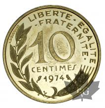 FRANCE-1974-10 CENTIMES-PIEFORT-PROOF