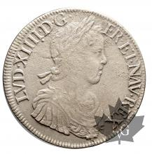 FRANCE-1652A-Ecu mèche longue-Louis XIV