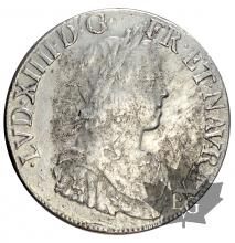 FRANCE-1654L-Ecu mèche longue-Louis XIV