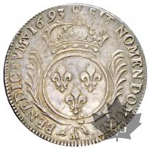 FRANCE-1693Arf-Ecu aux palmes-Louis XIV