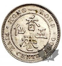 HONG KONG-1900-5 CENTS-SUP
