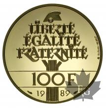 FRANCE-1989-100 FRANCS OR-Droits de l'homme-PROOF
