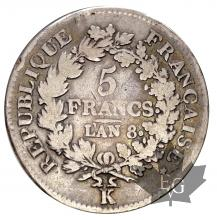 FRANCE-1799-AN8K-5 FRANCS-8sur 6-UNION ET FORCE-TB