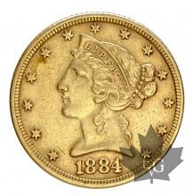 USA-1884-5 DOLLARS-LIBERTY-TTB-SUP