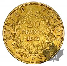 FRANCE-1855D-20 FRANCS-PETIT LION-TB-TTB