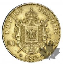 FRANCE-1869BB-100 FRANCS-prSUP