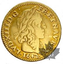 FRANCE-1642A-1/2 LOUIS D'OR-MÈCHE LONGUE-prTTB