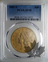 USA-1865S-20 DOLLARS-LIBERTY HEAD-TTB-SUP-PCGS XF45