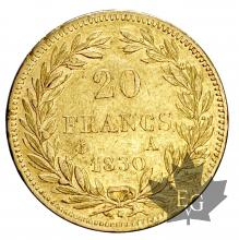 FRANCE-1830A-20 FRANCS-LOUIS PHILIPPE-TTB+