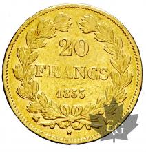 FRANCE-1833B-20 FRANCS-LOUIS PHILIPPE-TB-TTB