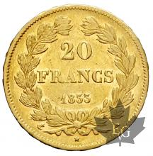 FRANCE-1833A-20 FRANCS-LOUIS PHILIPPE-TTB+
