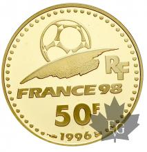 FRANCE-1996-50 FRANCS OR-COUPE DU MONDE DE FOOTBALL 1998