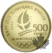 FRANCE-1991-500 FRANCS OR-saut à ski