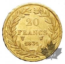 FRANCE-1831 W-20 FRANCS-Louis Philippe-TTB-SUP