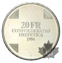 SUISSE-1994-10 FRANCS Ag-PROOF