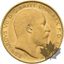 GRANDE BRETAGNE-1908-HALF SOVEREIGN-EDWARD VII-SUP
