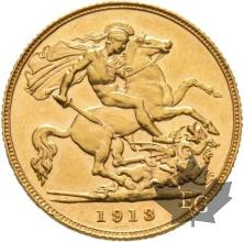 GRANDE BRETAGNE-1913-HALF SOVEREIGN-GEORGE V-SUP+
