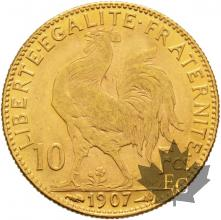 FRANCE-1907-10 FRANCS-MARIANNE-COQ-SUP
