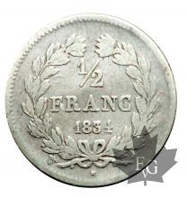 FRANCE-1834W-1/2 FRANC-LOUIS PHILIPPE-TB